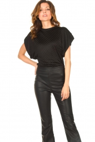 Freebird |  Top with checkered print Giada | black  | Picture 4