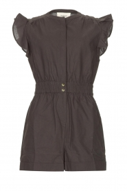 ba&sh |  Cotton playsuit with ruffles Cecile | black  | Picture 1