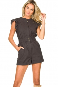 ba&sh |  Cotton playsuit with ruffles Cecile | black  | Picture 6