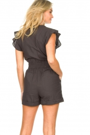 ba&sh |  Cotton playsuit with ruffles Cecile | black  | Picture 9