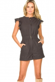 ba&sh |  Cotton playsuit with ruffles Cecile | black  | Picture 2