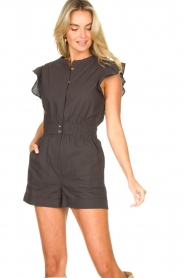 ba&sh    Cotton playsuit with ruffles Cecile   black    Picture 5