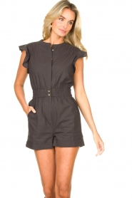 ba&sh |  Cotton playsuit with ruffles Cecile | black  | Picture 4