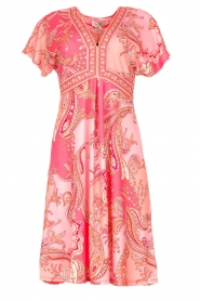 Hale Bob |  Midi dress with lowered sleeves Barbara | pink  | Picture 1