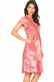 Hale Bob |  Midi dress with lowered sleeves Barbara | pink  | Picture 6