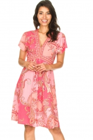 Hale Bob |  Midi dress with lowered sleeves Barbara | pink  | Picture 5