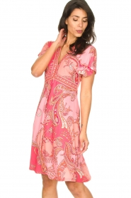 Hale Bob |  Midi dress with lowered sleeves Barbara | pink  | Picture 2