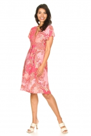 Hale Bob |  Midi dress with lowered sleeves Barbara | pink  | Picture 3