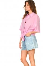 American Vintage |  Cotton oversized blouse BonBvin | pink  | Picture 7