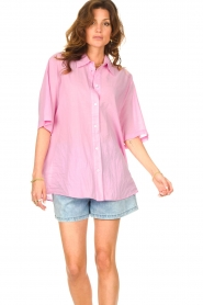 American Vintage |  Cotton oversized blouse BonBvin | pink  | Picture 4
