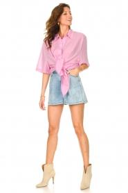 American Vintage |  Cotton oversized blouse BonBvin | pink  | Picture 3