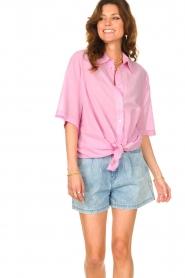 American Vintage |  Cotton oversized blouse BonBvin | pink  | Picture 6