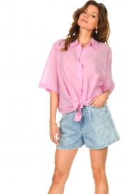 American Vintage |  Cotton oversized blouse BonBvin | pink  | Picture 5