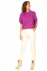American Vintage |  Sweater with short puff sleeves Wititi | purple  | Picture 2