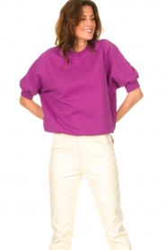 American Vintage |  Sweater with short puff sleeves Wititi | purple  | Picture 5