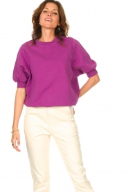 American Vintage |  Sweater with short puff sleeves Wititi | purple  | Picture 6