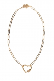 Prayer Accessories |  Link chain necklace with heart Yara | gold  | Picture 1