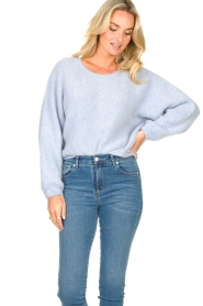 American Vintage |  Knitted sweater with bat sleeves East | blue  | Picture 5