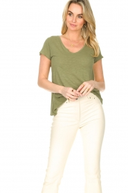 American Vintage |  Basic V-neck T-shirt Jacksonville | green  | Picture 3
