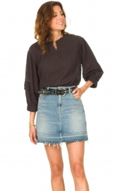 Second Female |  Blouse with crêpe effect Mallorca | black  | Picture 4