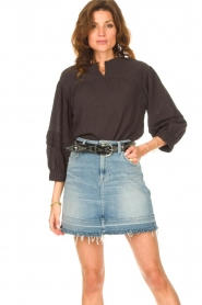 Second Female |  Blouse with crêpe effect Mallorca | black  | Picture 2