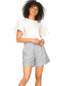 Second Female |  Basic top with ruffles Fillippa | white  | Picture 2