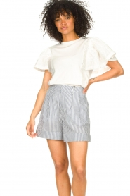 Second Female |  Basic top with ruffles Fillippa | white  | Picture 4