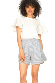 Second Female |  Basic top with ruffles Fillippa | white  | Picture 5