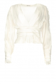 Magali Pascal |  Ruffles top with lace Eve | white  | Picture 1