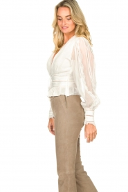 Magali Pascal |  Ruffles top with lace Eve | white  | Picture 6