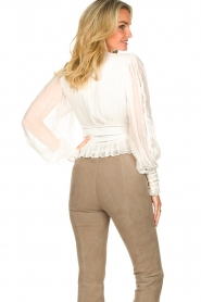 Magali Pascal |  Ruffles top with lace Eve | white  | Picture 7