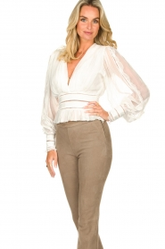 Magali Pascal |  Ruffles top with lace Eve | white  | Picture 2