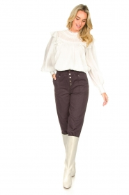 Magali Pascal |  Paperbag ankle pants Jackson | dark purple  | Picture 2