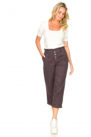 Magali Pascal |  Paperbag ankle pants Jackson | dark purple  | Picture 3