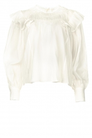 Magali Pascal |  Romantic top with baloon sleeves Giselle | white  | Picture 1