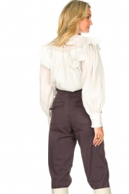 Magali Pascal |  Romantic top with baloon sleeves Giselle | white  | Picture 7