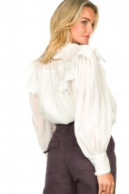 Magali Pascal |  Romantic top with baloon sleeves Giselle | white  | Picture 8