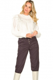 Magali Pascal |  Romantic top with baloon sleeves Giselle | white  | Picture 2