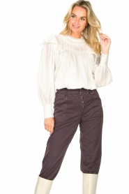 Magali Pascal |  Romantic top with baloon sleeves Giselle | white  | Picture 4