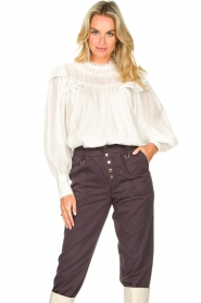 Magali Pascal |  Romantic top with baloon sleeves Giselle | white  | Picture 5