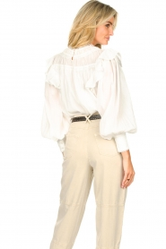 Magali Pascal |  Romantic top with balloon sleeves Giselle | white  | Picture 7