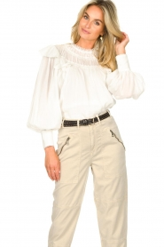 Magali Pascal |  Romantic top with balloon sleeves Giselle | white  | Picture 4