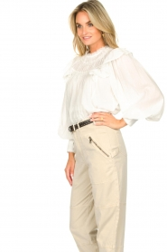 Magali Pascal |  Romantic top with balloon sleeves Giselle | white  | Picture 5
