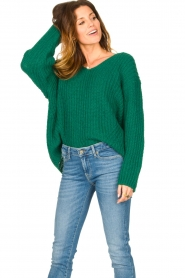 Set |  Chunky knitted sweater Saar | green  | Picture 4