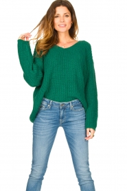 Set |  Chunky knitted sweater Saar | green  | Picture 5