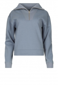 Lune Active |  Cotton sweater with zip collar River | blue  | Picture 1