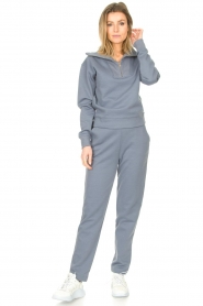 Lune Active |  Cotton sweater with zip collar River | blue  | Picture 3