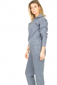 Lune Active |  Cotton sweater with zip collar River | blue  | Picture 5