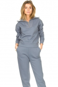 Lune Active |  Cotton sweater with zip collar River | blue  | Picture 2