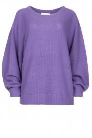 American Vintage |  Knitted sweater with boat neck Nizy | purple  | Picture 1